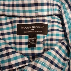 Mens Large Banana  Republic Striped Button  down